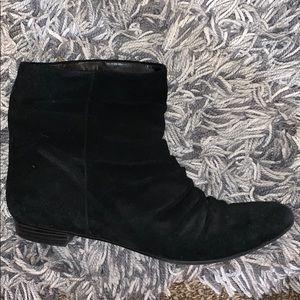 black suede slouch bootie small heel